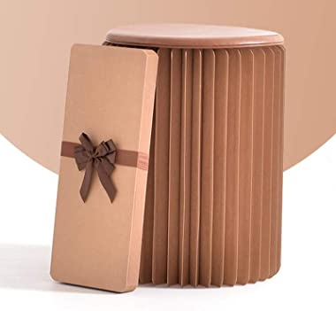 GDMING Retractable Folding Paper Stool,Ottoman Retro Kraft Paper Seat with Cushion for Living Room Office Bedroom Nightstand,