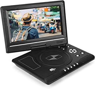 Diyeeni Reproductor de DVD, Portátil HD de 9,8 Pulgadas Pantalla LCD Giratoria Compatibilidad con Tarjeta SD CD USB, Repro...