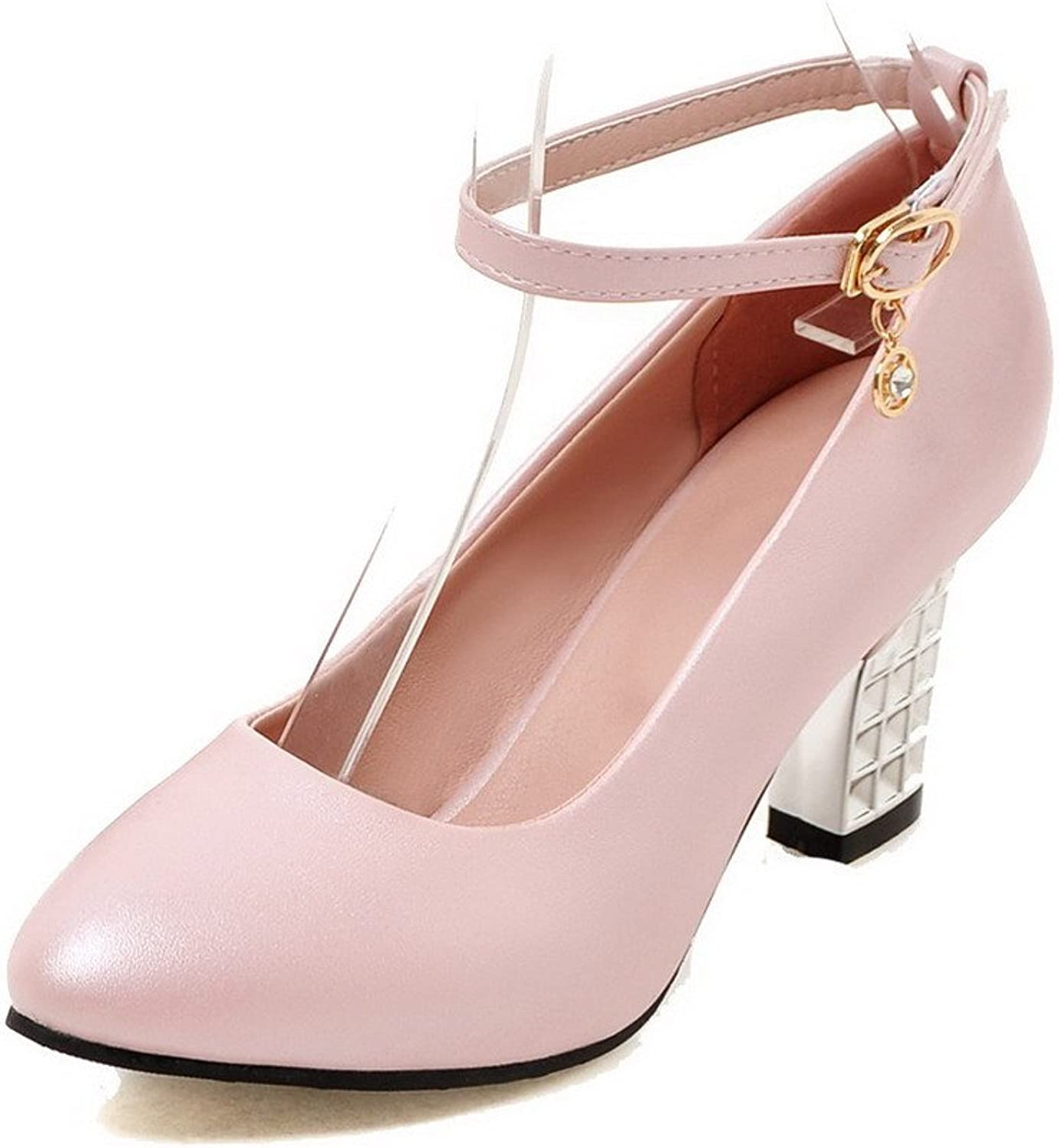 AmoonyFashion Women's PU Buckle Round-Toe High-Heels Solid Pumps, Pink, 36
