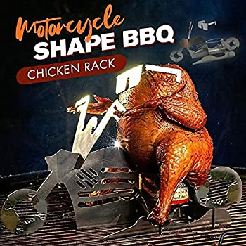 Portable Chicken Stand Motorcycle Bbq Stand Stainless Steel Grill Chicken Roaster Stand Smoker Roasting Cooking Utensil BBQ Rack with Glasses for Indoor Outdoor Use