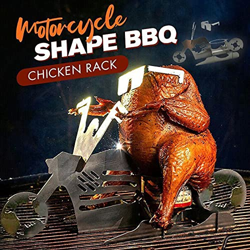 Portable Chicken Stand, Motorcycle Bbq Stand Stainless Steel Grill Chicken Roaster Stand Smoker Roasting Cooking Utensil BBQ Rack with Glasses for Indoor Outdoor Use