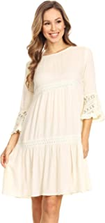 Women's Casual Semi Sheer Bohemian Crochet Lace Flounce ¾ Bell Sleeve Flowy Mini Dress