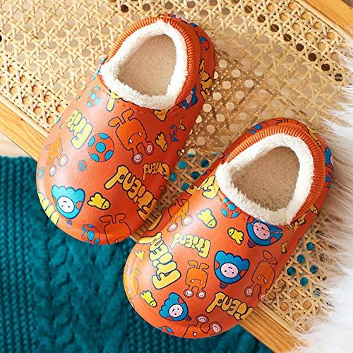Kirin-1 Pantuflas Hombre Divertidas,Zapatillas de algodón para niños Zapatillas Antideslizantes de algodón Baotou para Hombres y niñas-33_Naranja