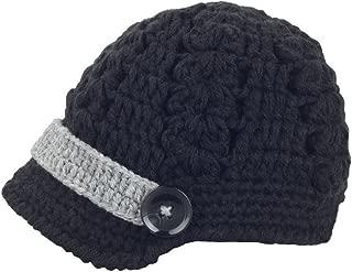 Bestknit Baby Boy Boy Crochet Baby Hat Newsboy Button Black