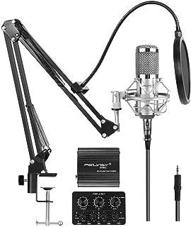 مجموعه میکروفون خازنی خازنی ضبط و پخش حرفه ای (نقره ای)