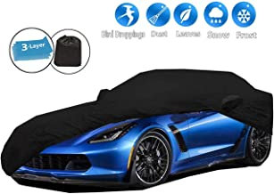 iiSPORT Car Cover Custom Fit C7 2014-2018 Chevy Corvette Grand Sport, Durable Convertible Black Covers for Indoor Garage Storage