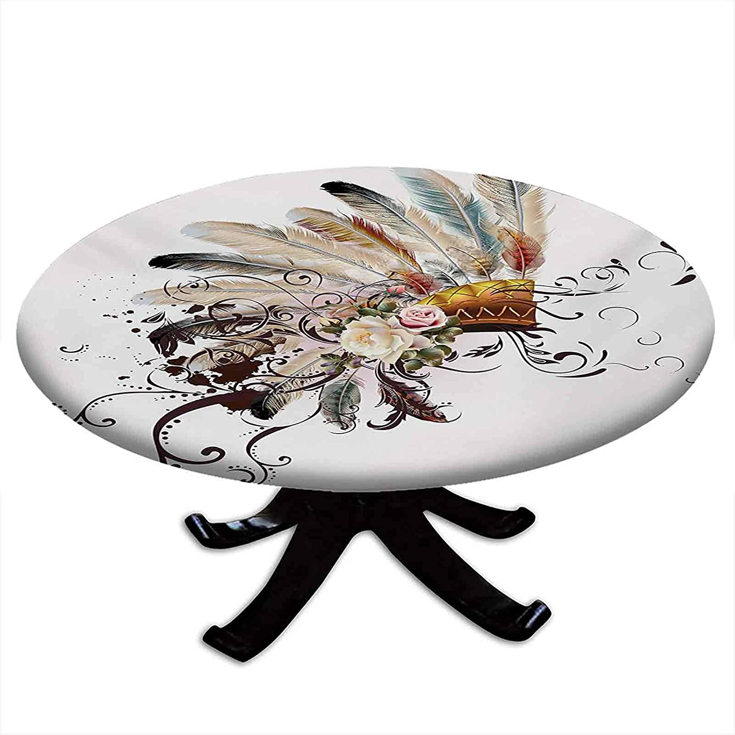Round Fitted Feather Max ! Super beauty product restock quality top! 78% OFF Tablecloth Native with Flo American Symbol