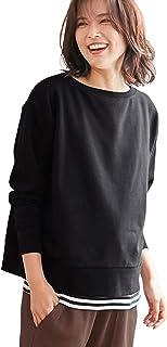 ANGELIEBE エンジェリーベ マタニティ 授乳口付 裏毛 ボートネックス ウェット トップス 授乳服 産前産後 長袖 M~L ブラック 29354302