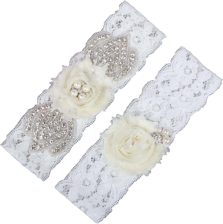 Miranda's Bridal Women's Ivory Floral Bridal Garters Wedding Garters