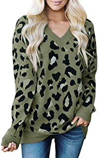 Kansopa Women's Casual Leopard Print Long Sleeve V Neck Knitted Oversized Pullover Sweaters Tops