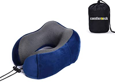 comfierneck Travel & Flight Neck Pillow. 100% Pure Memory Foam Neck Pillow Kit, Soft & Washable Cover. Adjustable to Fit Every One. 100% Memory Foam. Light Weight & Easy to Carry. Blue Color.