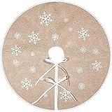 Tatuo Falda de Árbol de Navidad Falda de Árbol de Arpillera Impresa de Copo de Nieve Blanco Funda de Base de Árbol para Navidad Fiesta Decoraciones (80 cm)
