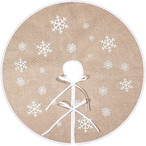 Tatuo Weihnachtsbaum Rock Weiße Schneeflocke Gedruckt Sackleinen Baum Röcke Base Abdeckung für Weihnachten Weihnachtsfeiertag Dekorationen (80 cm)