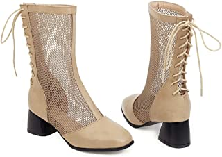 Summer Thick-heeled Cutout Sandals, Medium Heel Large Size Lace-up Mesh Sandals, PU Material Mesh Boots Women's Shoes
