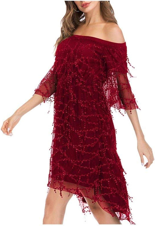 Boommoon Women Sexy Sequins Off Shoulder Half Sleeve Dress Female Dresses
