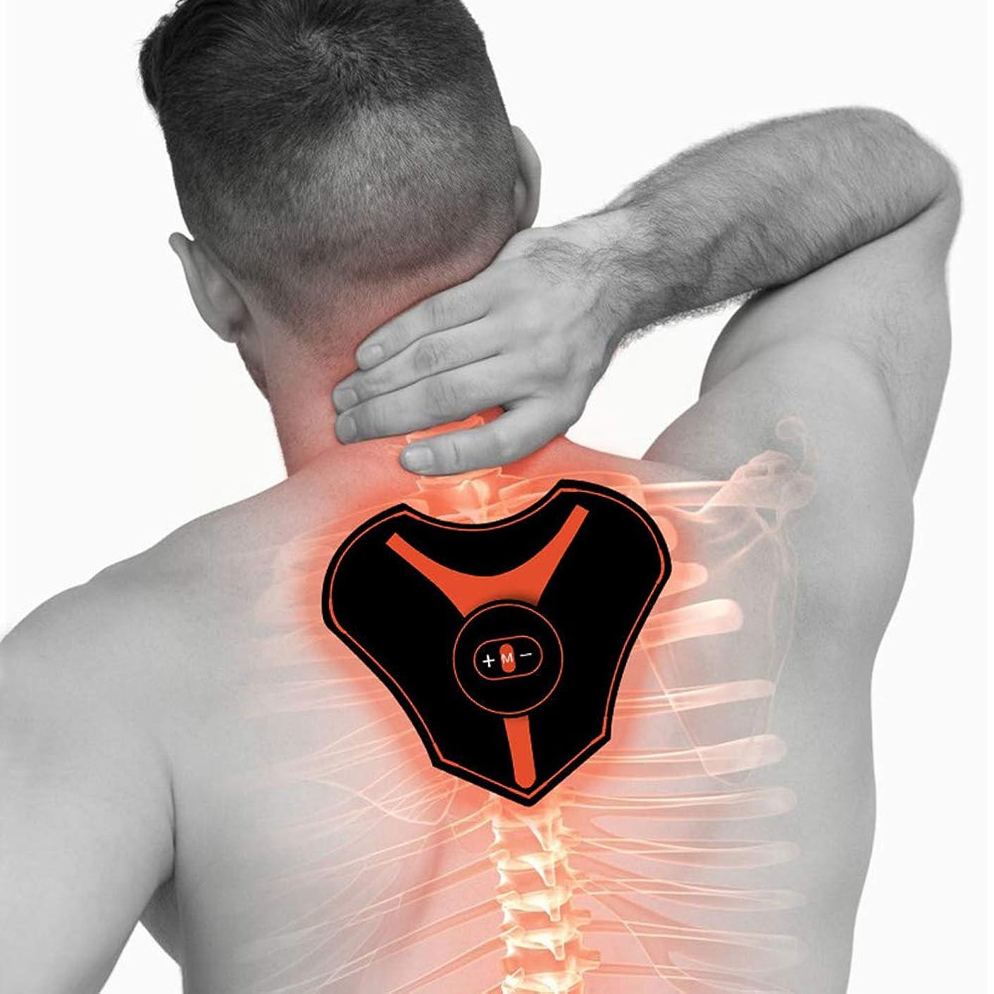 コンペ花束飢えスマートミニマッサージパッチ多機能ポータブル頸椎ペーストEMSマイクロカレントマッサージ体重減少マッサージ器5モードフィットネス機器