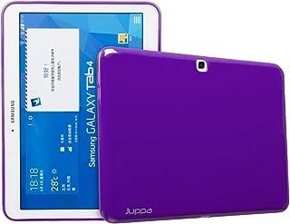 Juppa® Samsung Galaxy Tab 4 10.1 Pulgadas SM-T530 SM-T531 Slim Fit TPU Gel Case Cover Case Cover con Protector de Pantalla, Paño de Microfibra y Tarjeta de Aplicación (Morado)