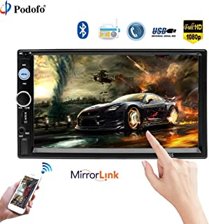 Bluetooth Head Unit - Double DIN Indash Car Stereo Kit, 7in Touch Screen Car Radio with Bluetooth Car MP5 Player FM AUX USB SD Mirror Link with Backup Camera+Remote Control
