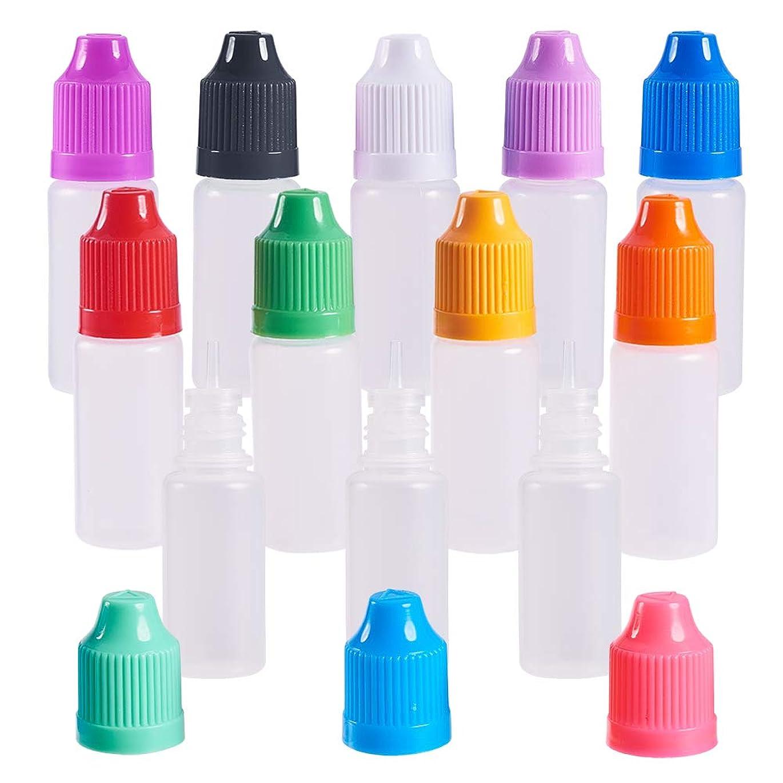レイア現金子音BENECREAT 60個セット 10mlドロッパーボトル プラスチック製 いたずら防止蓋つき 液体貯蔵用 点眼剤ボトル アロマボトル 分け詰め カラーフール蓋 12種カラー