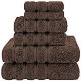 American Soft Linen Towel Set, 2 Bath Towels 2 Hand Towels 2 Washcloths Super Soft and Absorbent 100% Turkish Cotton Towels for Bathroom and Kitchen Chocolate Brown