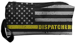 911 Dispatcher Thin Gold Line Flag Portable Handbag Storage Pouch Toiletry Bag Case Accessories Organizer Healthcare Kit Grooming Cosmetics Travel Make-up Bag With Zipper