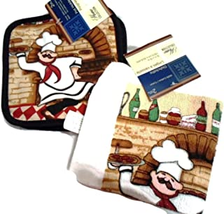 Home Collection Italian Fat Chef Pot Holders Dish Towels Kitchen Set of 4