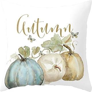 Fossrn Fundas Cojines 45x45 Calabaza Fundas de Almohada para Sofa Jardin Cama Decoración del Thanksgiving (01)
