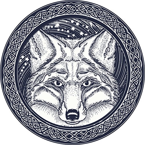 Cool Wild Fox Wolf Celtic Knot Icon Vinyl Decal Sticker (12' Wide)