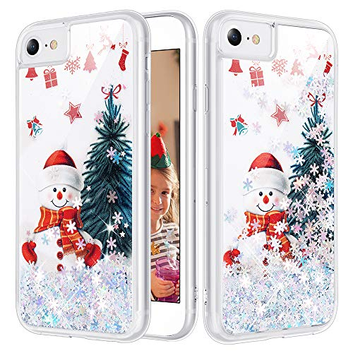 iPhone SE 2020 Glitter Case, Caka iPhone 7 8 SE 2020 Case Christmas Bling Shinning Liquid Sparkle Girly Girls Women Floating Waterfall Silver Glitter Snowflake Case for iPhone 7 8 SE 2020 (Snowman)