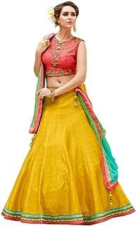 623f1dfbaa Kesari King Women's Banglory Silk Embroidery Lehengas Choli with Blouse  Piece (Yellow, Free Size