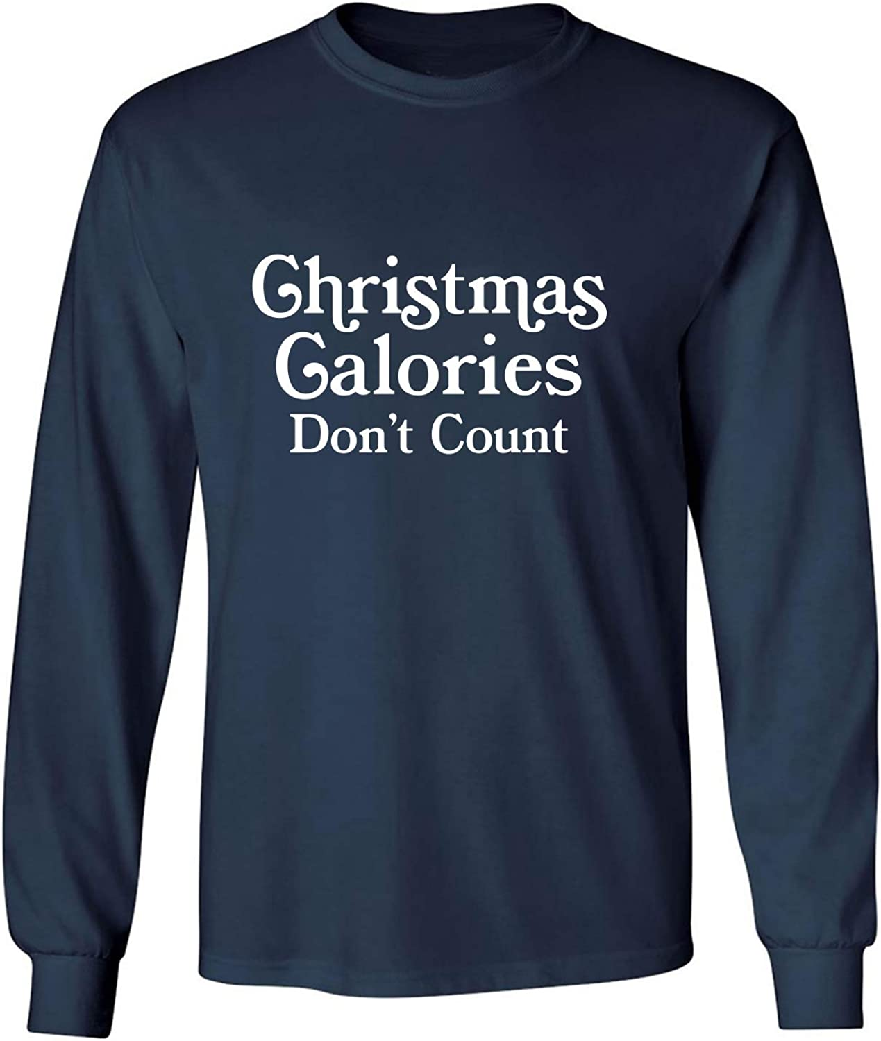 Christmas Calories Don't Count Adult Long Sleeve T-Shirt in Navy - XXXX-Large