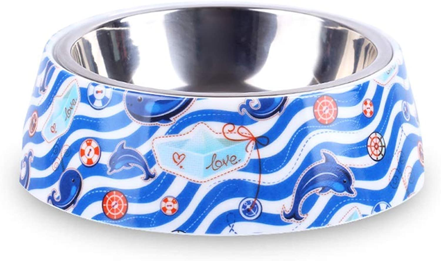 HVTKL Dog Food Bowl Stainless Steel NonSlip Double Layer Single Bowl Cat Bowl Cute Dolphin Pet Supplies (Size   L)