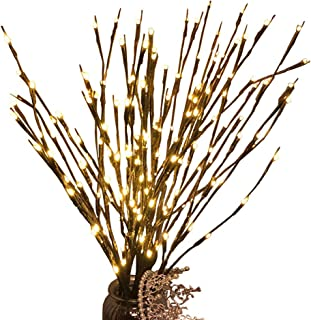 3 Pcs Warm White 20 LED Lighted Twig Branches Battery Operated Artificial Tree Lights Willow Branch Lamp for Home Decor Ho...