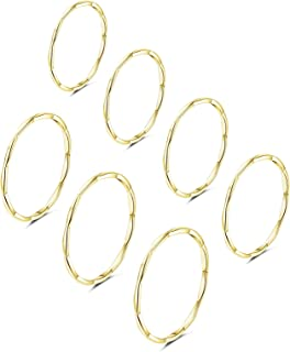 Women's 7 Pieces Stainless Steel 1MM Thin Midi Stacking Rings Plain Band Comfort Fit Size 3 to 9
