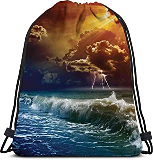 Drawstring Backpack Kids Adults Bag For Gym Traveling,Nature,Thunderstorm Rays Over The Ocean Waves Wild Forces Burnt Fire in The Air Print,Blue Orange