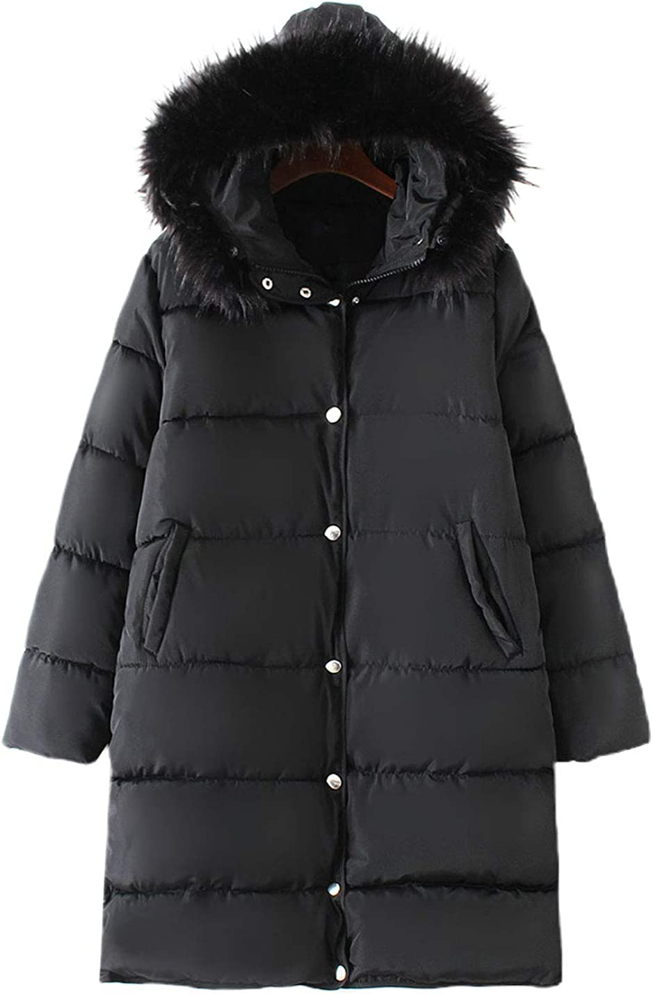 PUWEI Women's Faux Fur Hood Loose Puffer Coat Mid Long Padded Jacket Tops