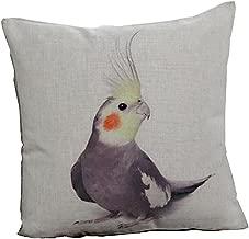 Bird Cushion Cover 18X18 Throw Pillow Cotton Linen Cockatiel 2pcs