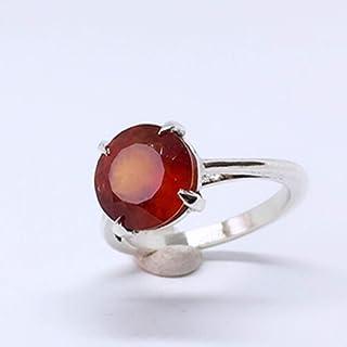 Prezioso anello con prezioso Granato Esonite tondo da 11 mm x 11 mm e 5,56 carati, realizzato interamente a mano in argent...