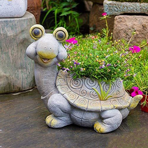 Home Decoration Sculpture Flower Pot Plants Flower Pots Turtle Succulent Art Planter Flower Resin Home Garden Decor Not Including Flowers (Color : B)