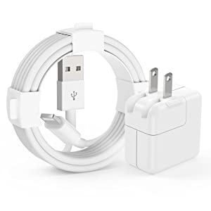 iPad Charger, iPad Charger Cord 10 FT Apple Certified, 12W USB Wall Charger Foldable Portable Travel Plug with Long Lightning Cable Compatible for iPad, iPad Mini, iPad Air 1/2/3, iPhone, iPod, Airpod