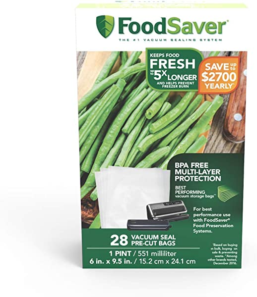 FoodSaver 1 Pint Precut Vacuum Seal Bags With BPA Free Multilayer Construction For Food Preservation 28 Count