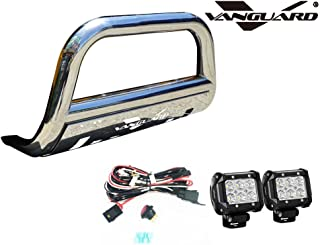 VANGUARD VGUBG-1212-1155SS-LED For Subaru Forester 2014-2019 Bumper Guard Stainless Steel Bull Bar with Skid Plate and 2 PC LED Cube Lights Combo
