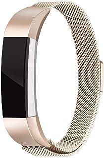 Ankersaila バンド 対応 Fitbit Alta HR/Fitbit Alta,ステンレス鋼 バンド 交換ベルト for Fitbit Alta/Fitbit Alta HR ユニークなマグネットロック付き (ライトゴールド)