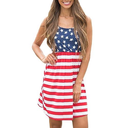 2760bef26d00b Spadehill Women s July 4th American Flag Printed Sleeveless Tank Mini Dress