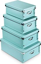 4 Pack Storage Box, Water-Proof Storage Bins with lids Sets with Handles,Multiple Sizes Foldable Plastic Storage Organizer...