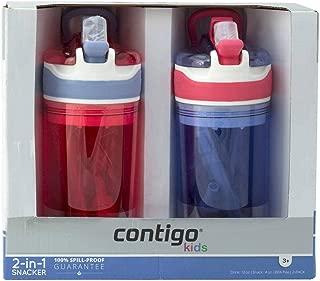 Contigo Kids 2-in-1 Snack Hero Tumbler 康迪克 零食杯饮水杯二合一儿童水瓶 13盎司 红色/紫色 2件装