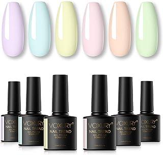 VOXURY Pintauñas Semipermanente Pastel 6 Colores Kit de Esmaltes de Uñas Esmaltes en Gel Soak Off 10ml
