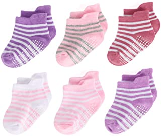 Baby Boys Girls Anti Slip Ankle Socks With Grips for Infant Toddler Kids 6 Pairs