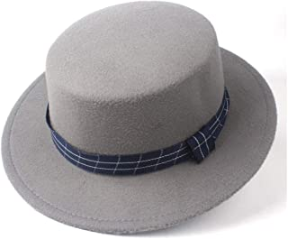 Pork Pie Hat Fedora Trilby Flat Top Fedora Hat Bowler Hat for Men Women Gentleman Fascinator Tea Party Hat Lady Church Trilby Hat Size 56-58CM (Color : Gray, Size : 56-58)