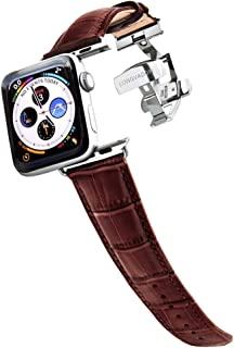 Longvadon Men's Watch Band - Compatible with Apple Watch Series 1, 2, 3 (42mm) & Series 4 (44mm) - Genuine Top Grain Leather - Caiman Series, Mahogany Brown with Silver Details